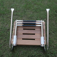 Boat Inboard Teak Swim Platform 3 Steps Stainless Ladder Rails Durable
