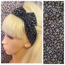 Noir Blanc Imprimé Floral Coton Souple Cheveux Nœud Écharpe filaire bandeau 50 s rétro