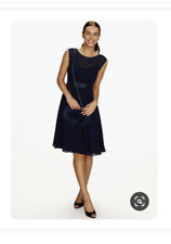 BHS Bridesmaid Dress Amelia Short Chiffon Size 14 Navy Blue BNWT