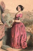 Portrait XIXe Rainha Maria II de Portugal Bragança Rio de Janeiro Marie II 1845