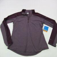 Columbia Long Sleeve 1/4 Zip Shirt Womans Size Large Burgundy NWT Stripes