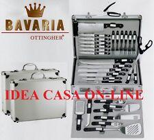 BAVARIA SET COLTELLI E POSATE PROFESSIONALI DA BARBECUE 34 Pz: IN VALIGIA RIGIDA
