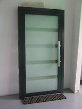 Aluminium triple glazing door, white glass with clear strips