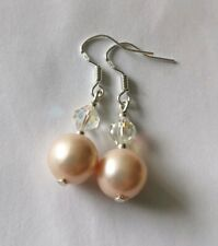 Peach Pink Sea Shell Pearl Earrings Sterling Silver Aurora Borealis Crystals New