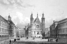 HOLLAND the Hague Knight's Hall - 1860 Original Print Engraving