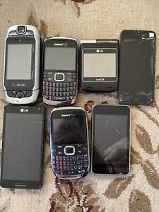 Lot of 7 Vintage Phones Flip Ipod sidekick Lg