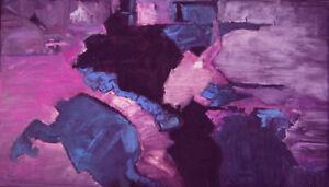 Linda Gulinson Atlantis Abstract Original Oil Painting Pink Purple Blue 24x42