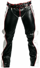REAL SEXY BLACK RED AND WHITE LEATHER HEAVY DUTY BONDAGE PANTS JEANS BLUF GAY