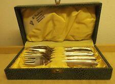 6 x Kuchengabeln 90 / 18 Silberauflage Einprägung GL in Besteckkasten der 50er