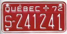 1972 Quebec Canada Snowmobile License Plate Plaque Ski-Doo S-241241