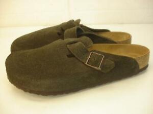 Birkenstock Men's sz 11 44 Boston Soft Footbed Clogs Brown Suede Leather Slip-On