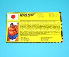 1993 GI JOE STREET FIGHTER II EDMOND HONDA v1 FILE CARD FILECARD HASBRO