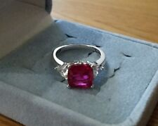 1.5 Carat Ruby Diamonique Ring Sterling Silver Size 5 QVC