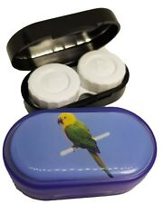 Colourfully Cool Mirror Case Contact Lens Soaking Storage Case UK MADE - Parrot