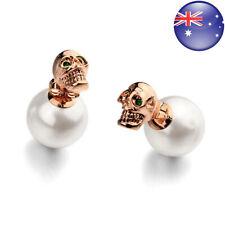 Women's Rose Gold Plated Green Crystal Eye Skull White Pearl Stud Earring IE98