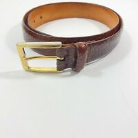 Martin Dingman Brown Woven Italian Calfskin Men's Belt Sz 34