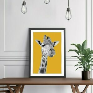 GIRAFFE BLACK AND WHITE YELLOW MUSTARD FRAMED POSTER WALL ART PRINT ARTWORK