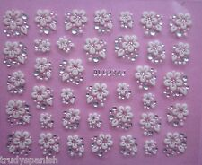 3D Nail Art Lace Stickers Transfers WHITE SILVER Flowers Rhinestone Pretty VNC