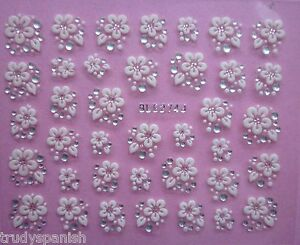 3D Nail Art Lace Stickers Decals Transfers WHITE SILVER Flowers Rhinestone (274)