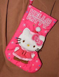 "Hello Kitty Christmas Stocking Holiday Pink Stars Applique 17"""