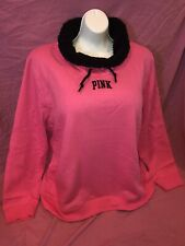 Victoria Secret Pink Sherpa Lined Cowl Neck Pullover Bright Pink Rare XL New ❤️