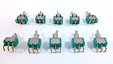 10 Pcs Toogle Switch Miniature 2 Pos ON/ON 3 Pin Latching Gold Plated Contacts