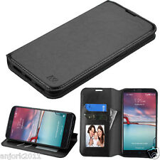 BLACK FOLIO FAUX LEATHER CASE W/STAND FOR ZTE MAX DUO LTE Z963vl Z963U Z62g