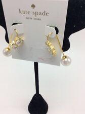 $58 Kate Spade 14k gold plated crystal & imitation pearl hanger earrings SS10