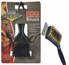 BBQ Brass Bristle Cleaner Brush with Metal Scraper Oven Grill Heavy Duty 30cm