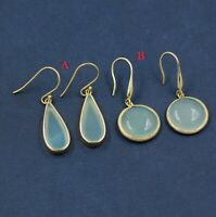Solid 925 Sterling Silver Chalcedony Gemstone Gold Plated Party Wear Earring