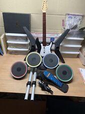 Playstation 3 PS3 Rock Band Set Guitar Drums Mic No Dongles