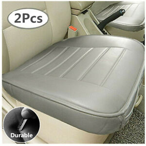 PU Leather Car Seat Cushion Interior Protector Mat Pad Gray Edge Wrapping 2Pcs