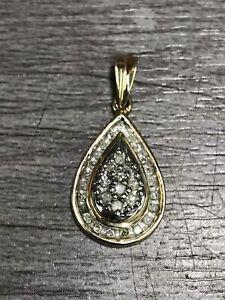 10K Yellow Gold Multi Diamond Drop Shape Pendant