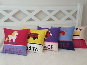 CHILDRENS PERSONALISED ANY NAME CUSHION COVERS/BOY OR GIRL - VARIOUS DESIGNS -