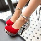 Sexy Womens ankle strap high heel round toe platform pumps party shoes Size
