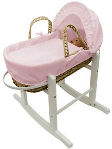 Kinder Valley Dolls Moses Basket with Stand - Pink Broderie Anglaise Set