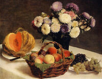 Huge beautiful Oil painting Latour - Flowers and Fruit a Melon