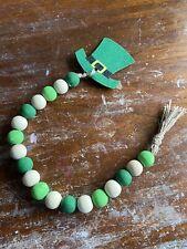 Saint Patricks Day Wood Bead Garland Tiered Tray