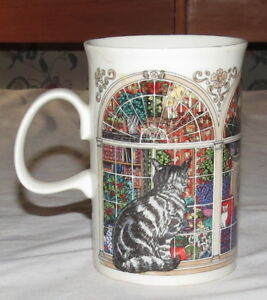 """Dunoon Scotland 4.1/4"""" Cats in a Window Mug - Black & White"""
