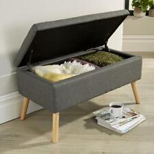George Dark Grey Ottoman Storage Box Pouffe Seat Stool Storage Bench Seconds