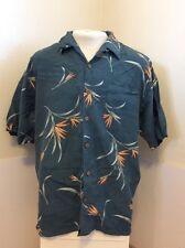 Tommy Bahama Large Hawaiian Shirt * Green And Flowers