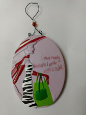 """Oval Hanging Plaque """"I save money because I never miss a sale!"""" bags hat zebra"""