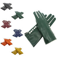New Buttons Gloves Women Lady Soft Leather Faux Fur One Size Gloves Driving UK