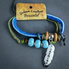 Jazmine Wrap Bracelet Leather Personalized Name Boho Faux Turquoise Beads