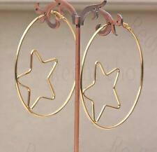 """18K Gold Filled 2.6"""" Earring Circle Hollow Inlaid Mini Five-pointed Star Lady DS"""