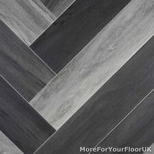 Grey Modern Parquet Wood Style Vinyl Flooring Kitchen Bathroom R10 Lino 2m 3m 4m