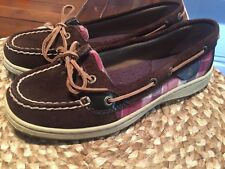 WOMENS   7  SPERRY SUEDE /  PLAID / LEATHER SHOES