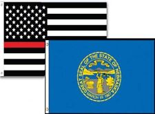3x5 Usa Thin Red Line Nebraska State 2 Pack Flag Wholesale Set Combo 3'x5'