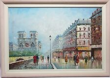 Paris by T Carson. Big 20th  Century Oil Painting. Bright & Lovely c.1930's