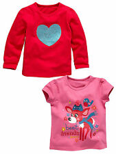 LadyBird Girls Best Friends T-shirts (2 Pck) in Pink/Red Size 2-3 Y Free UK P&P